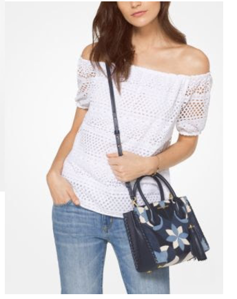 EYELET COTTON OFF-THE-SHOULDER TOP kors